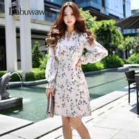 Dabuwawa Women Ladies Beige Spring/Autumn Long Sleeve Ruffle Dresses Vintage V Neck Floral Print Dresses D17CDR094