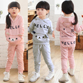 Clothing sets 2015 autumn and winter girls clothing with bear baby and child casual fleece free shipping