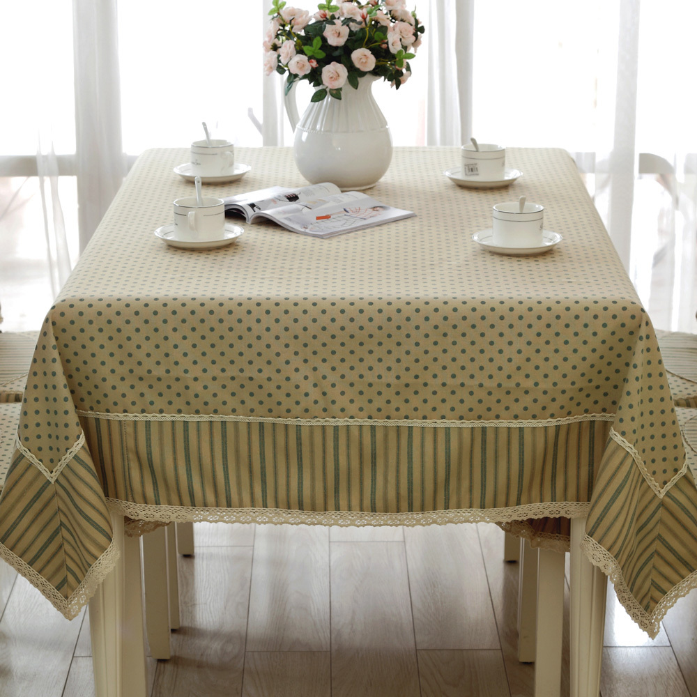 New Style Tablecloths 60 X 60 Inches Elegant Lace And Stripes Wave