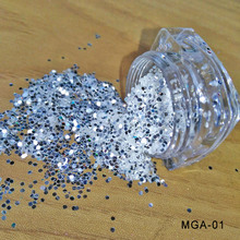 1mm Mirror shinning Glitter White Flakes Bling Nail Sequins Shinning Art Powder Paillette Decoration, MGA-01
