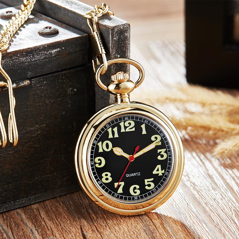 Luxury Golden Silver Pocket <font><b>Watch</b></font> Men Women Quartz <font><b>Watch</b></font> <font><b>Big</b></font> Numeral Dial FOB Chain Retro Pendants Steampunk Clock Male <font><b>Watch</b></font> image