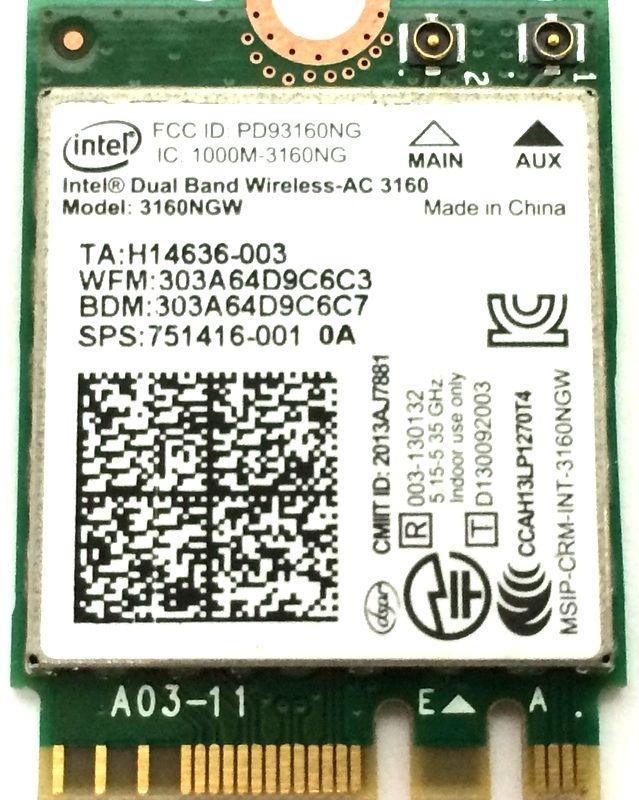 Intel Double Bande 3160NGW Sans Fil-AC 3160 3160ac ac3160 802.11ac Wi-Fi + Bluetooth pour ASUS UX301LA NGFF sans fil carte réseau