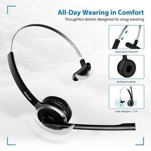 Image 4 - Mpow M5 Pro Bluetooth 4,1 наушники с микрофоном, Зарядная база, беспроводная гарнитура для ПК, ноутбука, колл центр, офис, 18 часов в режиме разговора