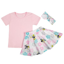 Children's clothing child set summer female child set short sleeve top skirts baby kids clothing sets 1-6 years old