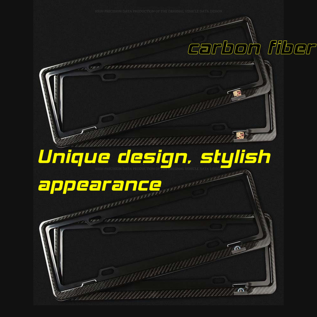 Nice price For Mer-cedes Be-nz decorative protection A set of two black carbon fiber license plate frame