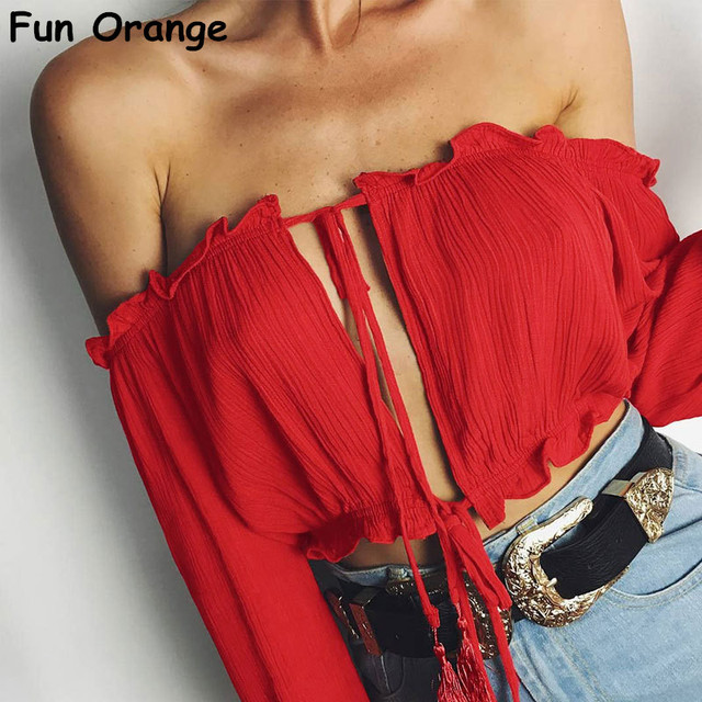 f35378fe23 Fun Orange Long Sleeve Chiffon Blouse Shirt Women Tops Boho Off Shoulder  Crop Top Red Summer Beach Blouse Chemise Tube Blusa