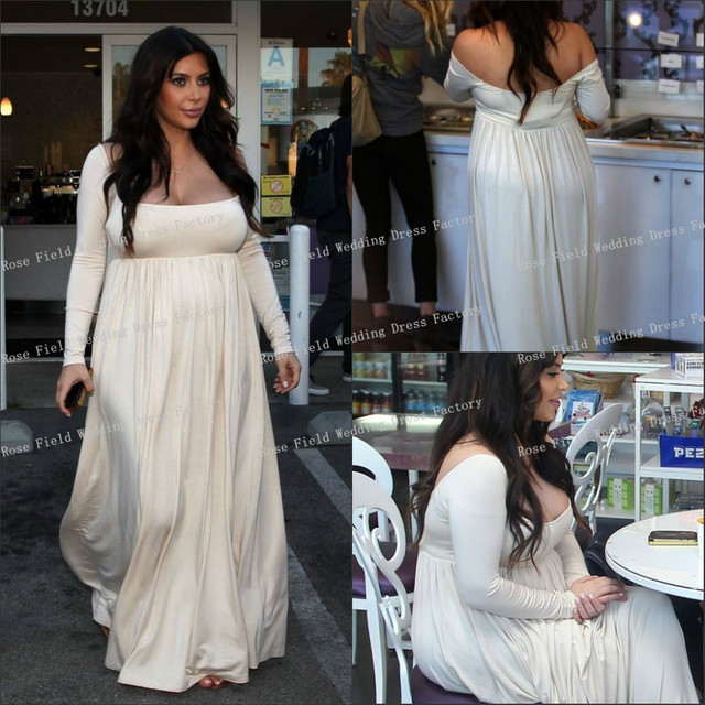 Kim Kardashian Floor Length Pregnant Woman Dresses Off The Shoulder Long Sleeves Plus Size Celebrity Inspired
