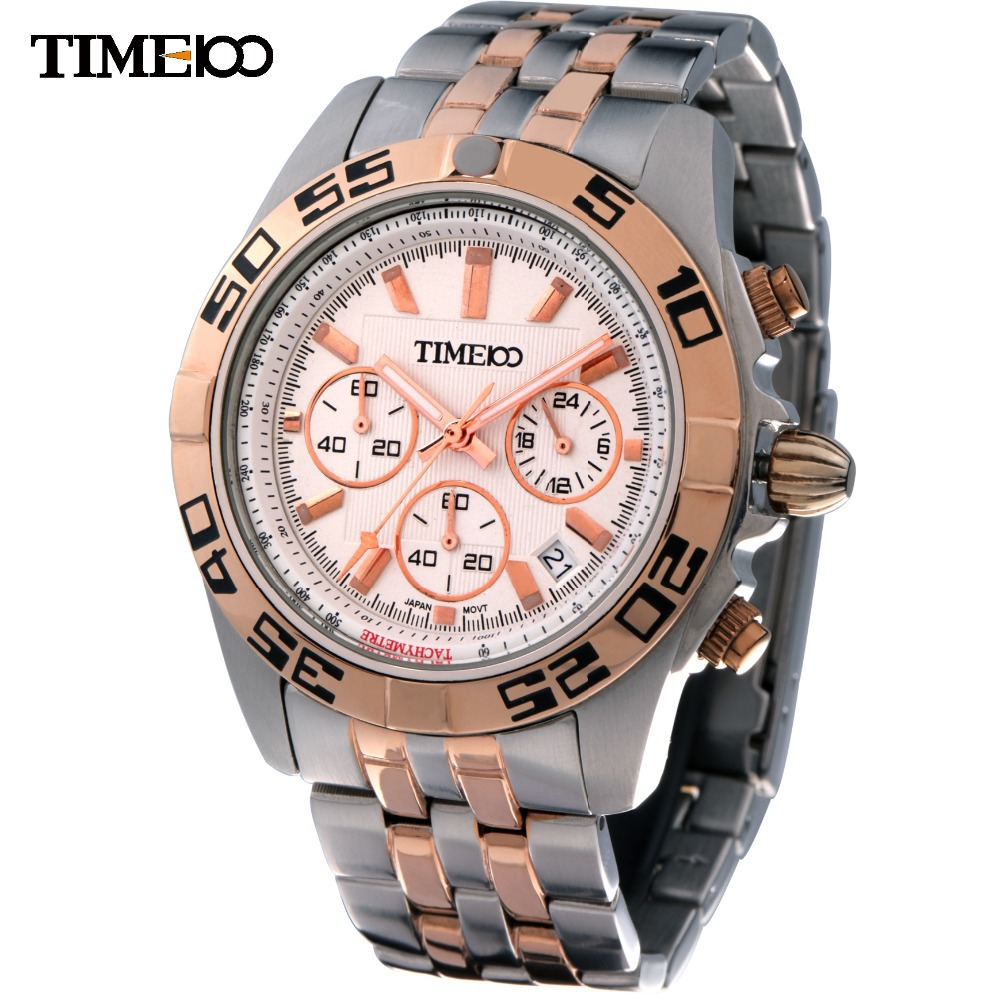 TIME100 Men's Cool Round Dial Analog Display Wristwatch 50M Water Resistant Stainless Steel Band Sport Quartz Watches For Men weide brand irregular man sport watches water resistance quartz analog digital display stainless steel running watches for men