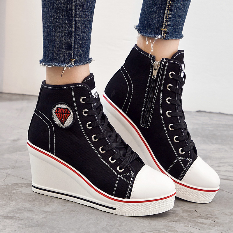 High Heel summer shoes woman Wedge Canvas Casual Women Vulcanize Shoes sneakers fashion Plus size High help female Hot NLD920 de la chance women vulcanize shoes platform breathable canvas shoes woman wedge sneakers casual fashion candy color students