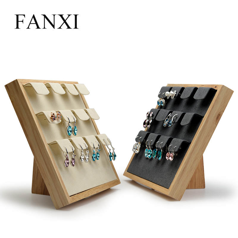 FANXI Solid wood Earrings display stand ear stud display holder Rack with microfiber 12 Seats for