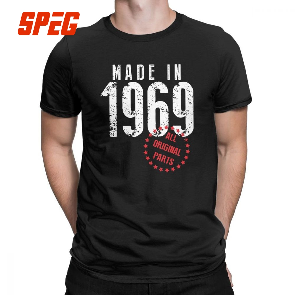 Men T Shirt Made In 1969 All Original Parts Vintage Short Sleeves 50th Birthday Tees O Neck Clothes Cotton New Arrival Shirts