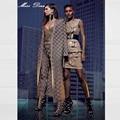 2016 Novas mulheres Xadrez Jacquard Manga Comprida Jacket & Brasão Verde Nu Preto branco bandagem Inverno Cardigan Calças Leggings Definir
