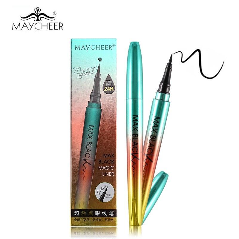 1PC MAYCHEER Professional 24H Black Eyeliner Pencil Vätska Vattentät Långvarig Eye Liner Pen Glatt Pensel Non Smudge Make Up