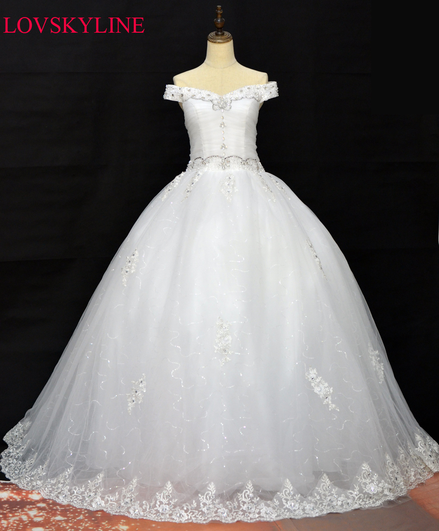 Popular Luxury Crystal Ball Gown Bling Bling Wedding DressBuy
