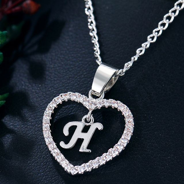 IF ME Initial Tiny Letter H Heart Crystal Necklace For Women