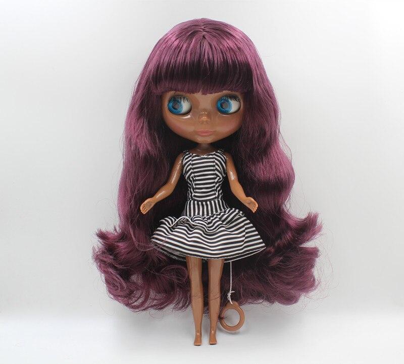 Blyth doll purple, liu hai curly hair, dark skin nude doll, 1/6,7 combined body, gift toy.