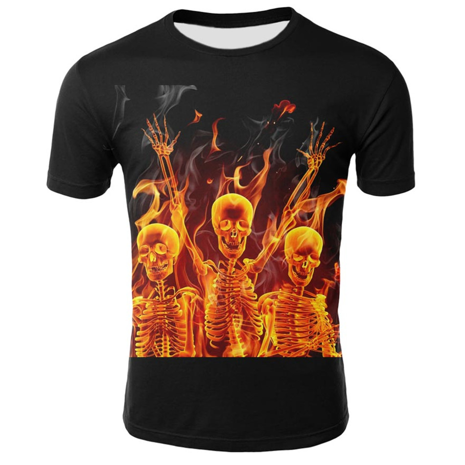 Tops T-Shirts Skull Fire Printing Girl Kids Fashion Children Summer New Anime Boy Casual