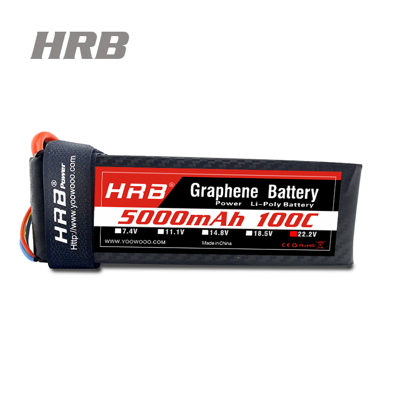 HRB Graphene Battery <font><b>Lipo</b></font> <font><b>6S</b></font> 22.2V <font><b>5000mAh</b></font> 100C-200C For Helicopter Quadcopter Truck Boat Robot RC Toys Batteria image