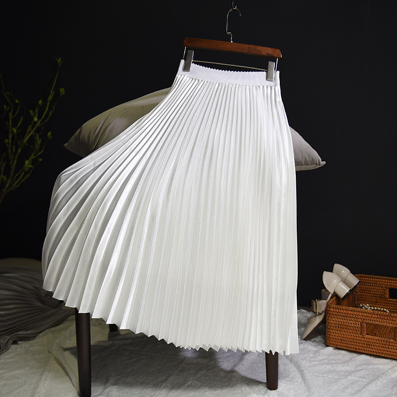 Sherhure 2018 Spring Women Long Skirts Fashion Brand A-Line Women Pleated Skirts High Waist Women Midi Skirt Faldas Mujer Saias 10