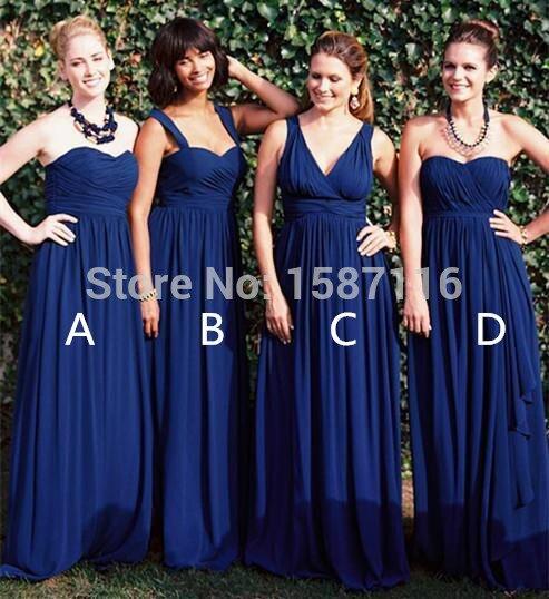 2015 Navy Blue Bridesmaid Dresses Plus Size Formal Dress A Line