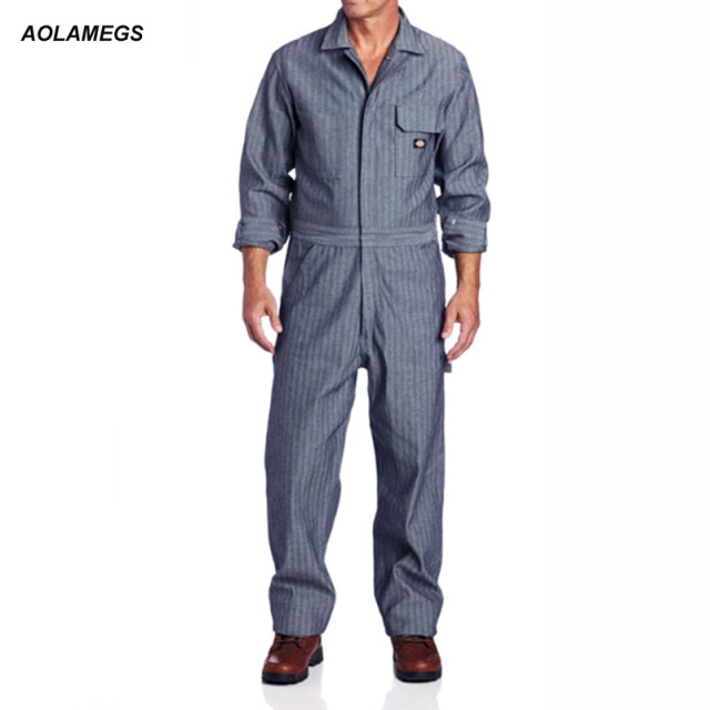 Aolamegs Men Fisher Stripe Overalls Hip hop Dancing Coverall Jumpsuit  Dancer Fashion Long-sleeve One piece Overalls Work Clothes d24279c7976