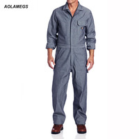 Aolamegs Men Fisher Stripe Overalls Hip hop Dancing Coverall Jumpsuit Dancer Fashion Long-sleeve One piece Overalls Work Clothes