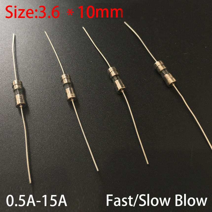 200Pcs Glass Fuse Tube Axial With Lead Wire Fast Blows Fuse 3x10mm 250V//0.5A