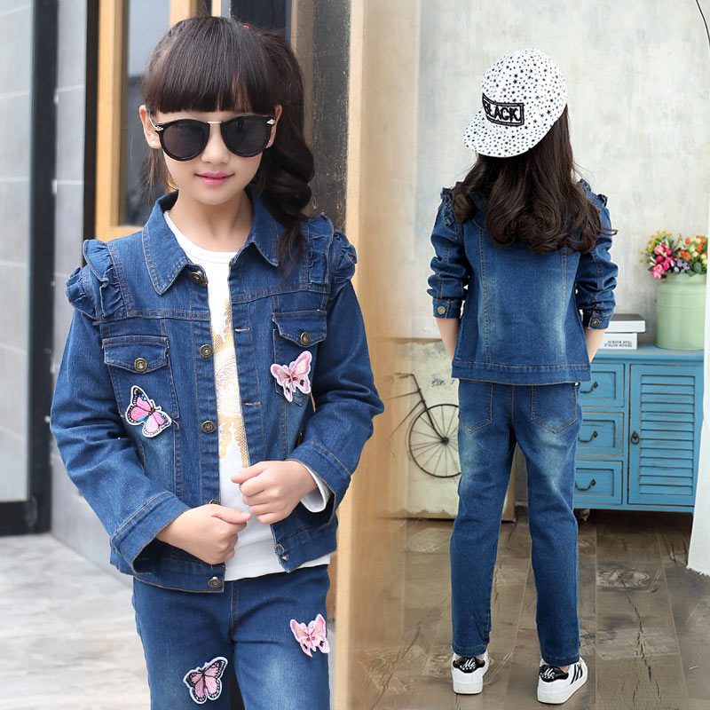 Kids Girls Embroidered Butterfly Jeans Clothing Set 2PCS Denim Jacket Pants 2017 Jeans Outfit Sets Clothes for 4- 14 Years Girls 2pcs children outfit clothes kids baby girl off shoulder cotton ruffled sleeve tops striped t shirt blue denim jeans sunsuit set