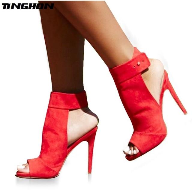 TINGHON Fashion Button Ankle Strap Sandal Open Toe Women Stripper Ultra High  Heel Pumps Wedding Shoes Size 35-40 3d6791ce0667