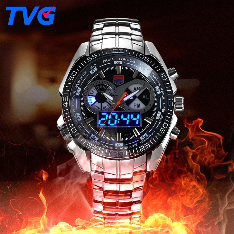 TVG Male Sports Watch Men Full stainless steel waterproof Quartz watch Digital Led Analog Dual display