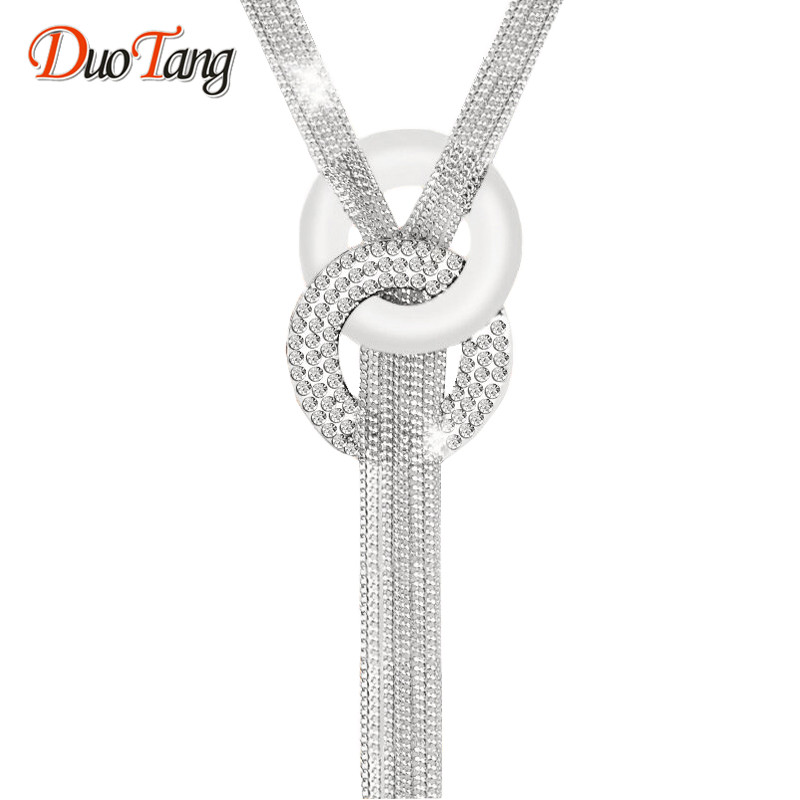 Detail Feedback Questions about DuoTang Long Necklaces Silver Color Tassel  Necklace Trendy Zinc Alloy Statement Necklace Rhinestone Necklaces For Women  ... b4dd731bdc59