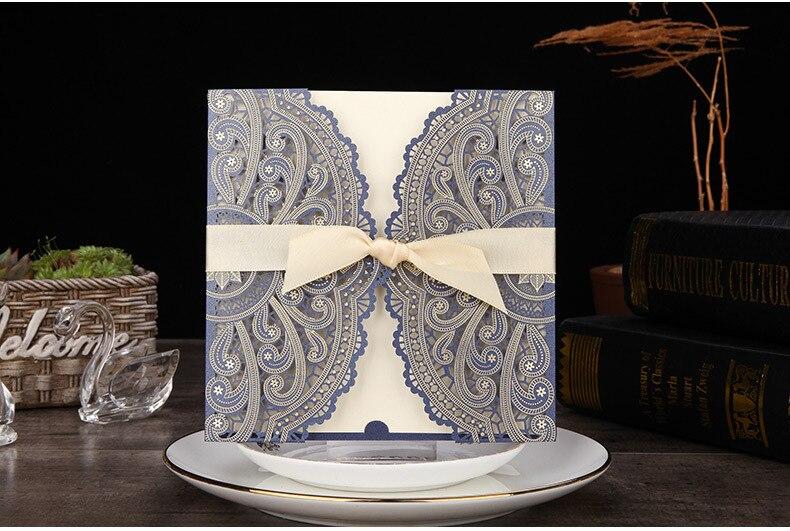100 ชิ้น/ล็อตเลเซอร์ตัดคำเชิญ Blue Gold Ivory Shell Party การ์ดเชิญ Elegant Hollow งานแต่งงานการ์ดพิมพ์ฟรี-ใน การ์ดและบัตรเชิญ จาก บ้านและสวน บน   1