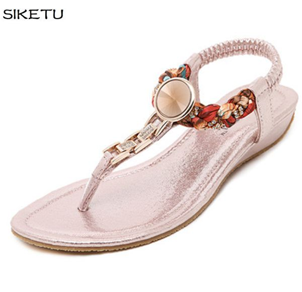 2017 summer new design knitted flats sandals shoes women JF029 gold silver black pink crystal rhinestones lady casual sandals