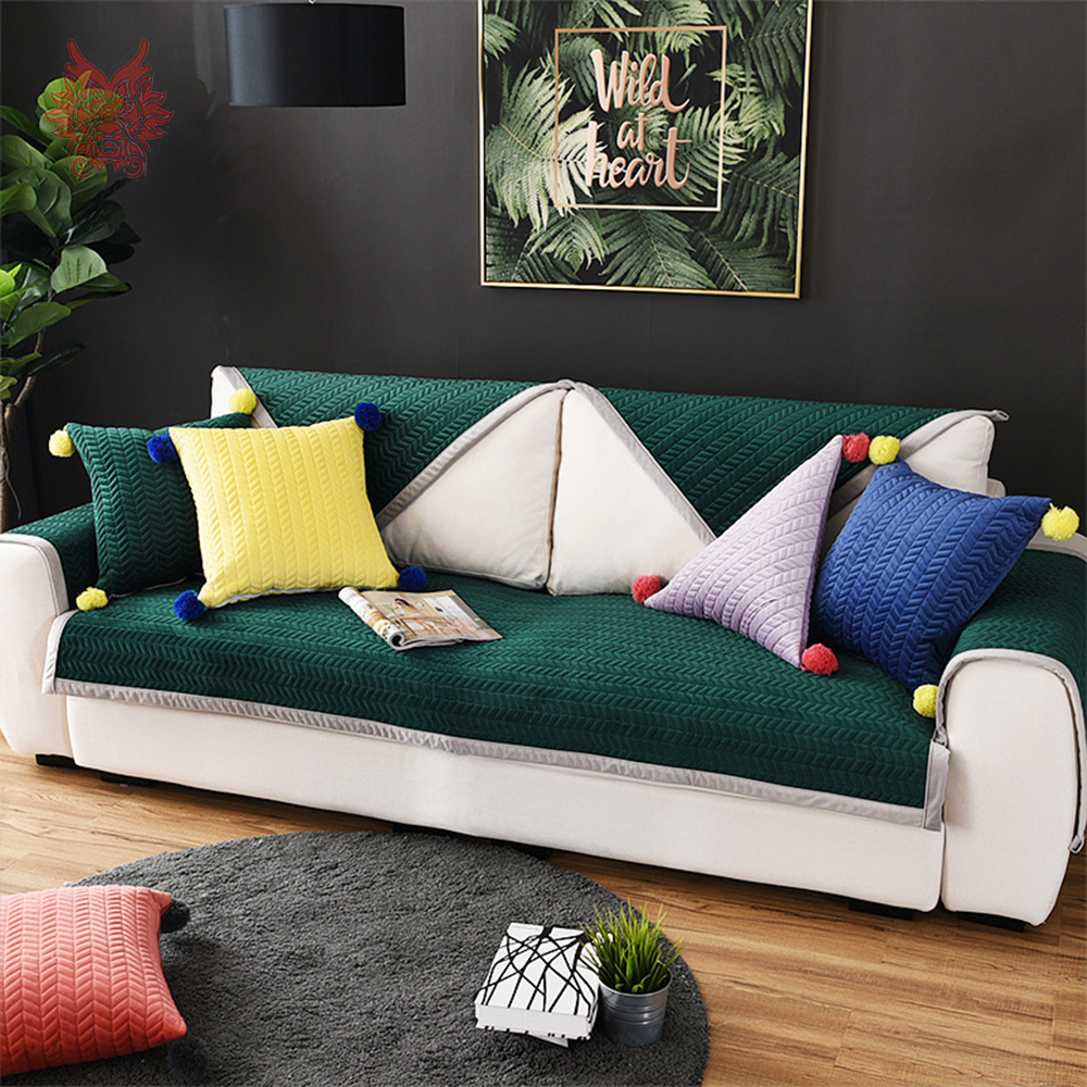US $13.64 45% OFF|Modern green grey wave quilted plush sofa cover cama  slipcovers for living room furniture covers sectional couch covers  SP4916-in ...