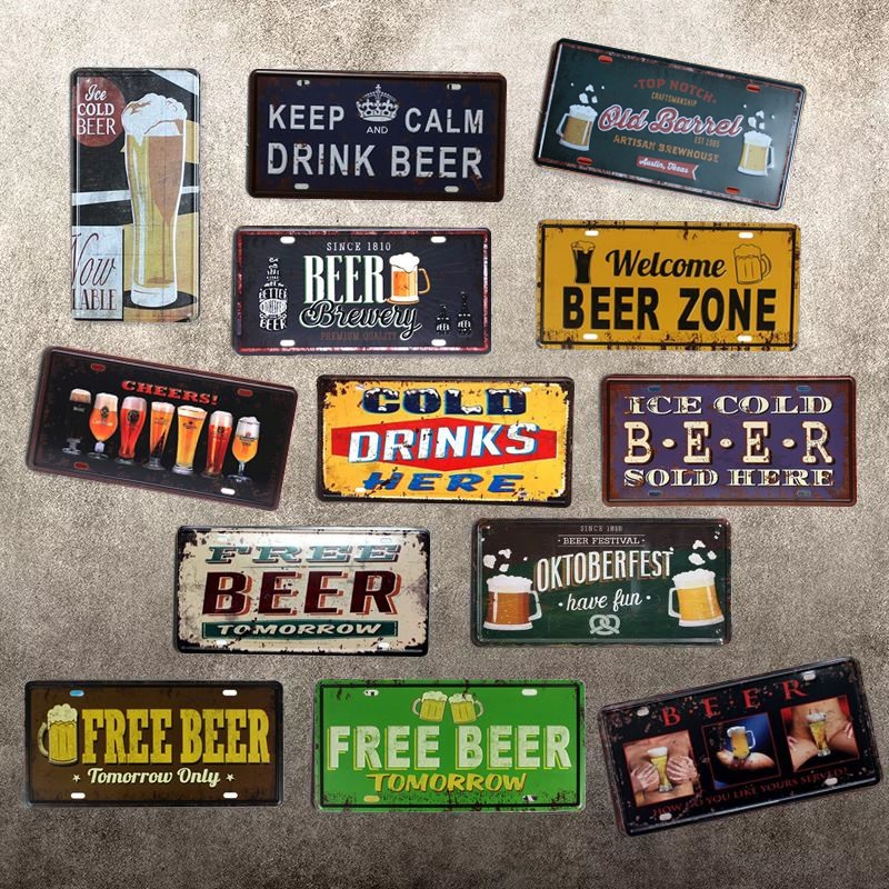CHEERS BEER CAR PLATE Vintage Tin Sign Bar pub home Wall ...