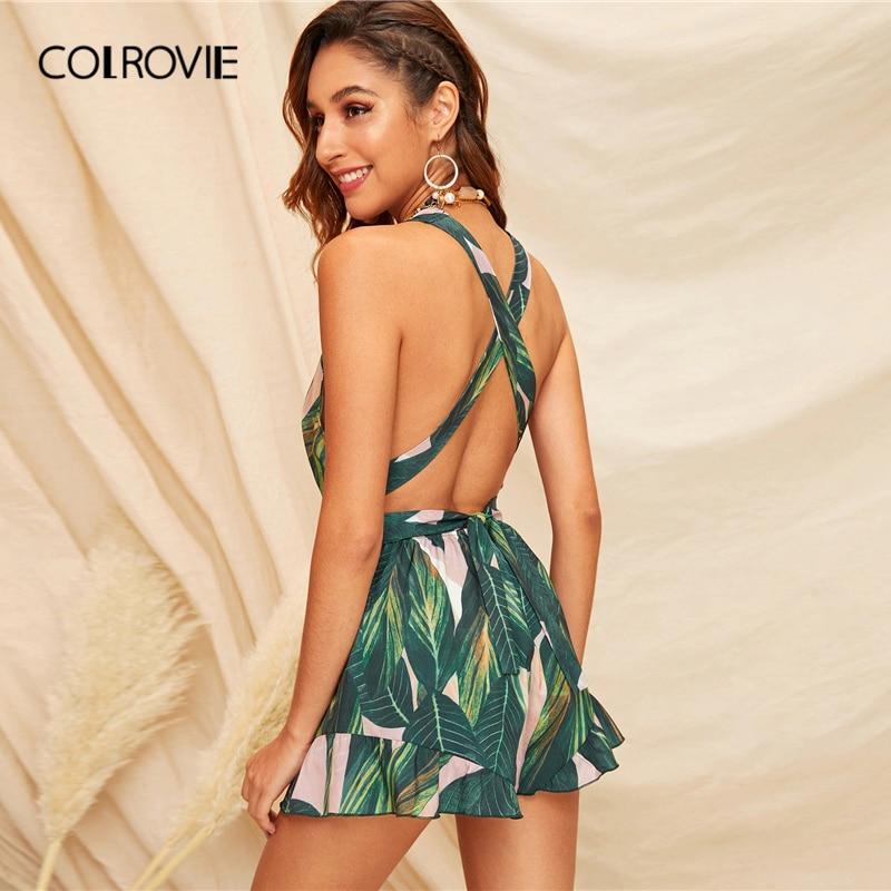 COLROVIE Green Criss Cross Tie Back Tassel Drawstring Tropical Boho Romper Women 2019 Summer Backless Playsuit Short Jumpsuit
