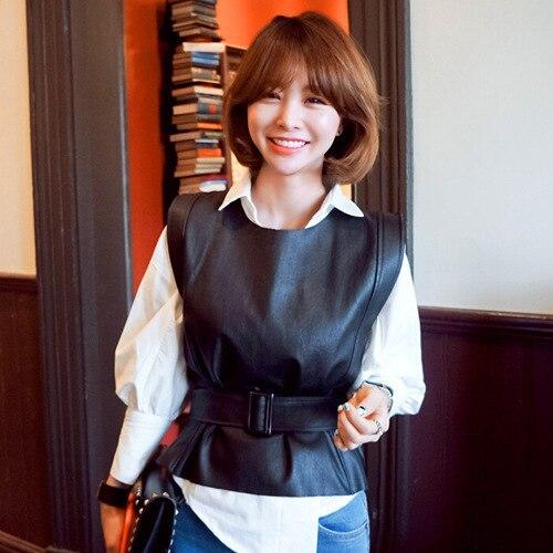 [XITAO] 2016 Корея мода осень женщины черный PU жилет повседневная женский шею с пояса короткие жилет RS001
