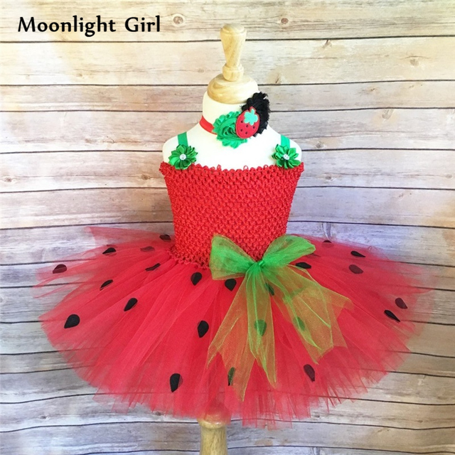 5d395bc36afde Child Red Strawberry Cotume Girls Tutu Dress With Headband Mini Dress Kids  Halloween Costumes Girls Birthday Party Dresses PQ152