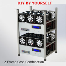 2018 New 6 GPU Open Air Mining Case Stackable Computer ETH Miner Mining Frame Rig 6x Fan & Temp Monitor BTC LTC Coin Server