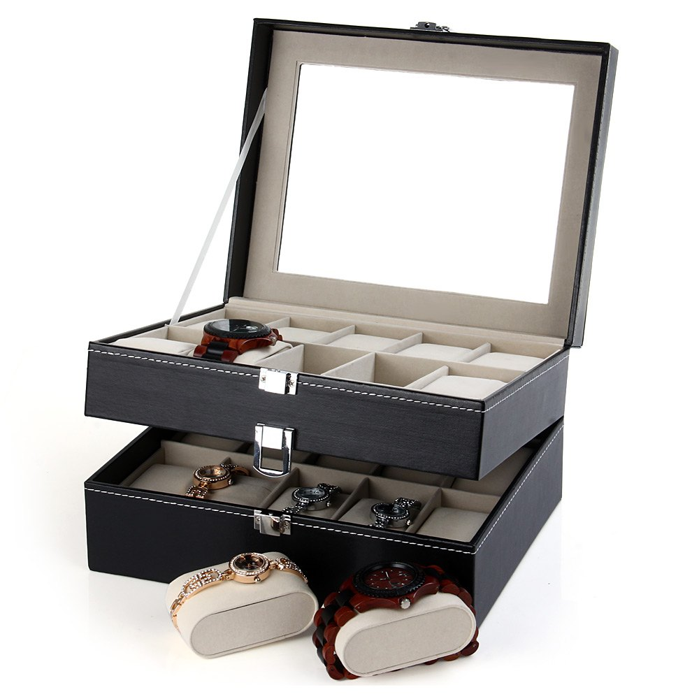 PU Leather 20 Grids Watch Display Case Box Jewelry Storage Organizer, Elegant Watch box gifts Organizer caja reloj for toyota corolla 2011 2012 2013 super brightness waterproof abs 12v car drl led daytime running light with fog lamp hole sncn