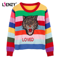 LIENZY Autumn Tiger Sequins Women Sweater Long Sleeve Rainbow Striped Knitted Pullovers Loved Embroidered Sweater