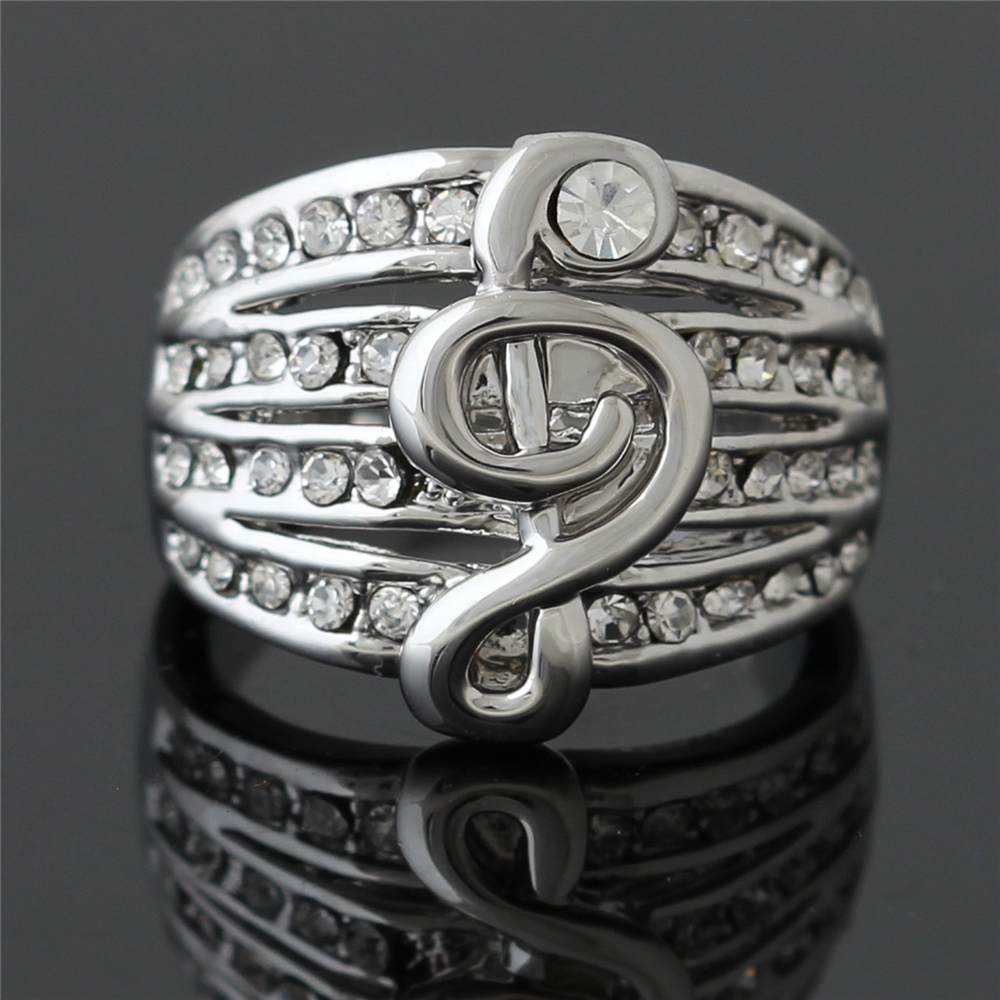 2016 New Hot Retro rings Musical Note Rings Rhinestone Rings For Women Engagement Wedding Rings Gift J01073