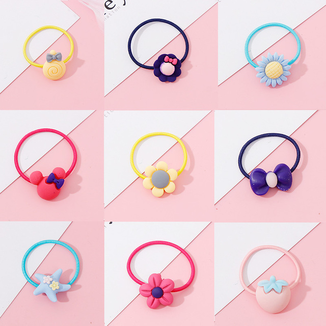 Wholesale 1PC Girls Cartoon Flower Lollipop Acrylic Elastic Hair Bands 3.0cm Small Rubber Bands Kids Scrunchie Hair Accessories