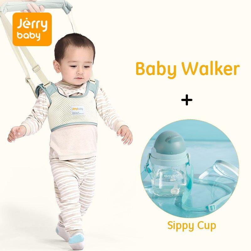 Jerrybaby bébé marcheur enfant en bas âge laisse harnais de sécurité enfants rênes bébé marche Assistant aile bébé tasse à boire bouteille