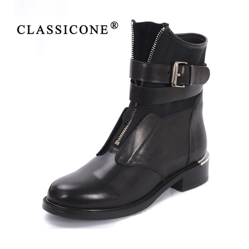 CLASSICONE 2018 весна осень новые женские ботинки женская обувь натуральная кожа молния впереди застежка пряжка мода стиль сексуальность черный ц...