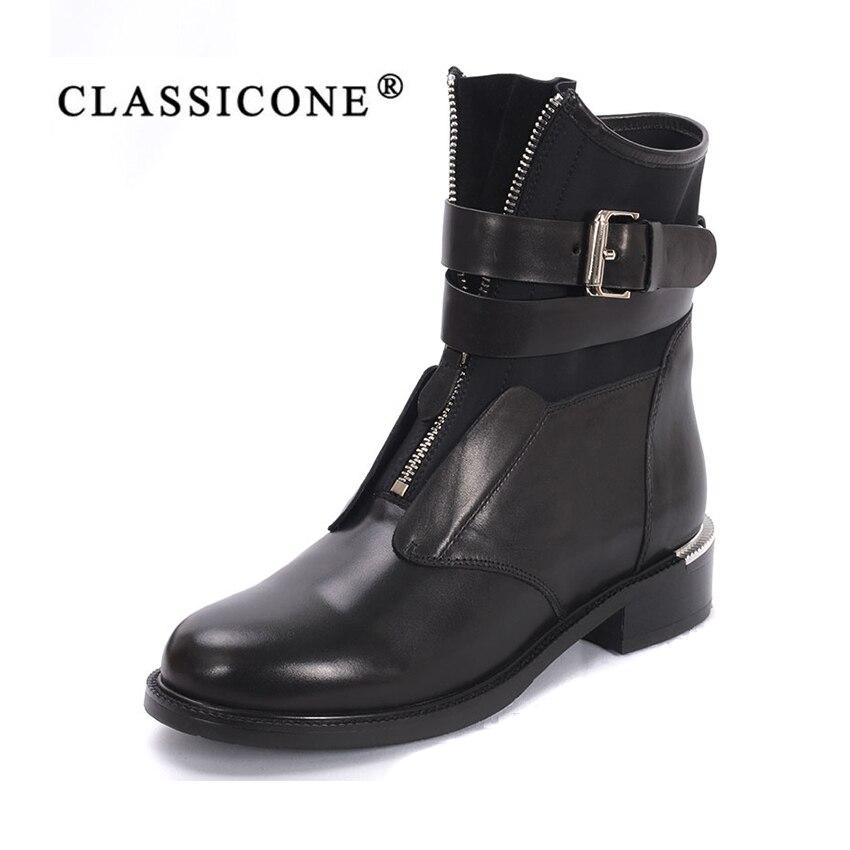 Femmes chaussures femme cheville bottes en cuir véritable 2018 printemps automne appartements avec mode zip marque de luxe décoration sexy CLASSICONE