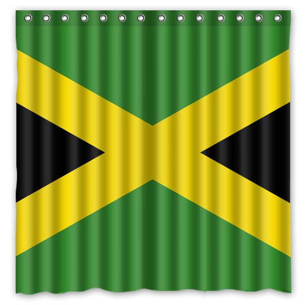 Jamaica Flag Polyester Waterproof Shower Curtain 71*71 inch Mildew Resistant Bath Curtain Bathroom Decor 12pc Hooks