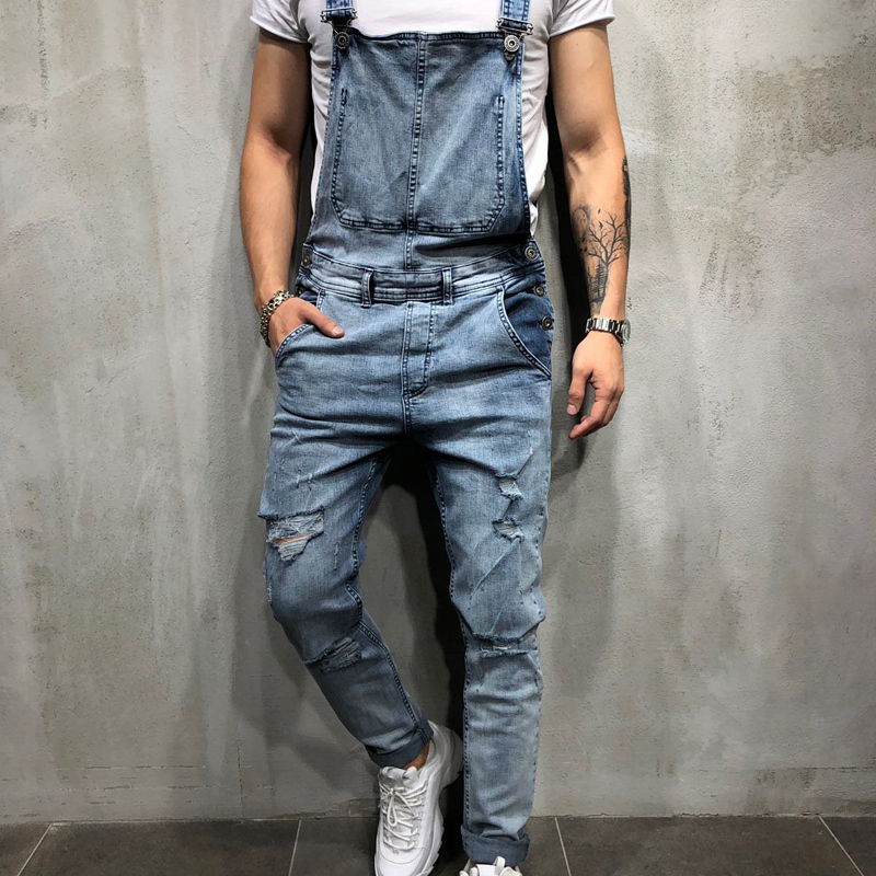 HZIJUE 2019 Fashion men   jeans   Men's Ripped   Jeans   Jumpsuits Distressed Denim Bib Overalls For Man Suspender Pants men clothes