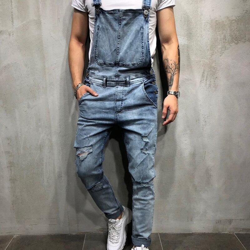 HZIJUE 2019 Fashion men jeans Men's Ripped Jeans Jumpsuits  Distressed Denim Bib Overalls For Man Suspender Pants men clothes