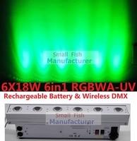 2017 Hot Led Wash Light 6x18W RGBWA+UV Wireless Dmx & Battery Led Wall Washer Bar Line Led Uplighting DJ DISCO DMX Stage Effects